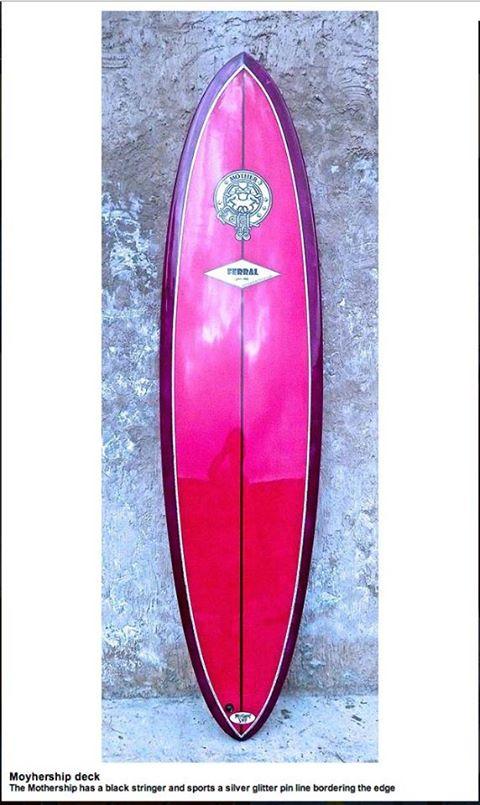 Mother logo surf board